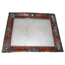 Circa 1890 faux painted rectangle picture frame with glass