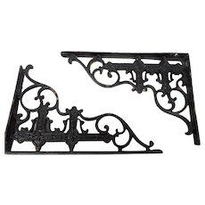 Pair of antique cast iron shelf brackets victorian