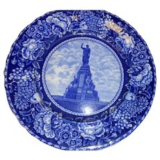 Antique flow blue 10 inch plate National Monument to the Forefathers