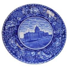 Ten inch flow blue plate of capital of Minnesota