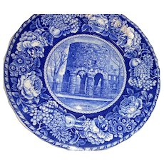 Antique flow blue 10 inch plate of Old Stone Mill in Newport Rhode Island