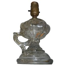 Antique glass oil lamp with handle ellectrified