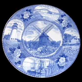 Vintage blue transfer souvinir 10 inch plate of Cape Cod  Ma