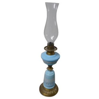Tall victorian azure blue oil lamp parlor  with etched shade