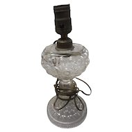 Circa 1890 glass bubble electrified oil lamp