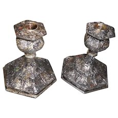 Pair of heavy ornate silver  plate candle stickscirca 1890