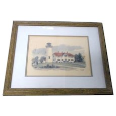 Vintage colored print of chatham massachusets coast guard light housenicely framed and matted