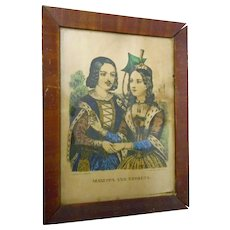 Circa 1800 print lFRAME and BACKING BY J bOLON Mazzepa and Theresa