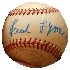 Autographed baseball by Fred lynn
