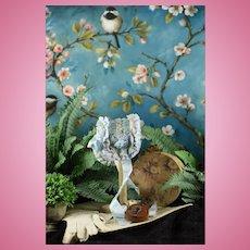 Wonderful Blue Silk Bonnet for Bru, Jumeau, Steiner