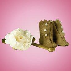 Pretty Little Brown Suede 3-Button Boots for Jumeau, Steiner, Bru, Gaultier