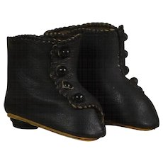 Black Leather Button Boots For Bebe