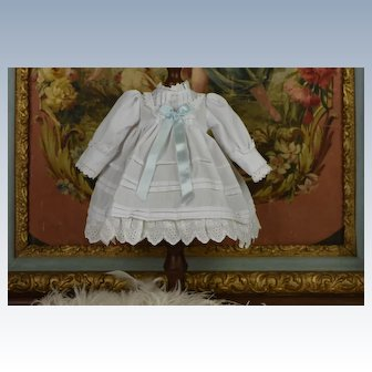Cute White Vintage-Styled Doll Dress With Eyelet Lace