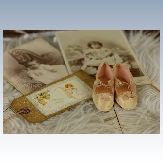 Antique French Light Pink-Creme Silk Doll Shoes