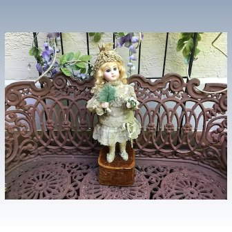 "GORGEOUS 18"" Antique French Bisque Closed Mouth Jumeau Automaton ""Young Girl with Fan and Flowers"" by Lambert"