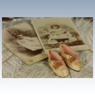 French Antique Light Pink-Creme Silk Doll Shoes