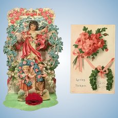 Beautiful Set of TWO Antique Victorian Valentines