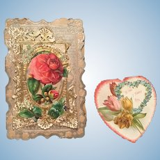 TWO Antique Victorian Valentines for Dolls/Display