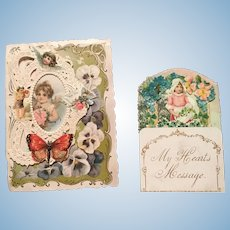 TWO Beautiful Antique Victorian Valentine Cards for Dolls/Display