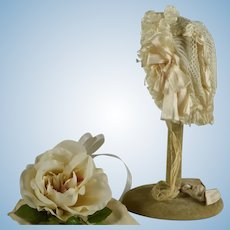 Wonderful Antique Ivory Silk Ribbon and Lace Bonnet for Bebe