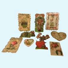 Lot of Antique Victorian Valentines for Doll Display