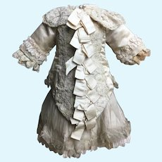 Spectacular Antique French Silk Satin Dress for Jumeau, E.J., Bru, Steiner, Eden Bebe About 20-21""