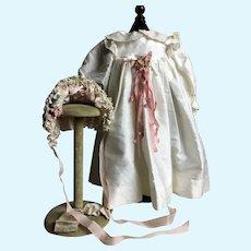Ivory Dupioni Silk Dress with Pink Bonnet