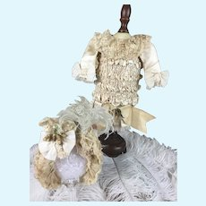 "Stunning ""Empress-Style"" Paris-Made Dress, Bonnet, Slip/Bustle Ensemble for 19"" Bebe With Antique Doll Box!!"