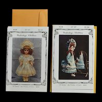 """Two Doll Dress and Bonnet Patterns for 15-16"""" Doll"""