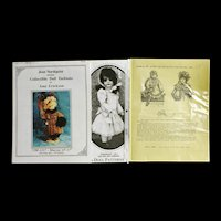"""Lot of 3 Doll Dress Patterns for 15-17"""" Dolls"""