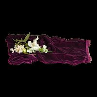 Beautiful Deep Purple Velvet Fabric Remnant for Doll Costuming