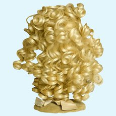 """Pretty Acrylic Light Blonde Wig with Bangs and Thick Curls, 12-13"""""""