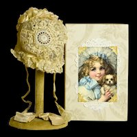 Beautiful Antique Hand Sewn Ecru Lace Bonnet in Artist Made Box for Dolls