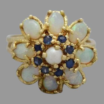 Beautiful 14k Yellow Gold Ladies Opal,Pearl and Sapphires Ring