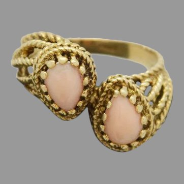 Beautiful Coral Ladies Ring Crafted in 14k Yellow Gold