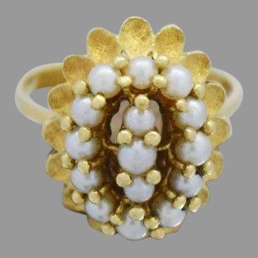 Beautiful and Elegant 18k Yellow Gold Ladies Cluster Pearl Ring