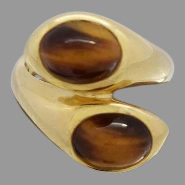 Gorgeous Tiger's Eye Ladies Ring 18k Yellow Gold