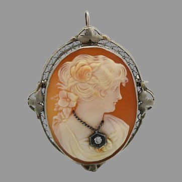 Beautiful Carved Natural Shell 14k Gold Cameo Pin Brooch with a Single cut Diamond