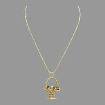 """Beautiful Vintage 14k Yellow Gold Flower Basket pendant and Necklace 24.0"""" Inch"""