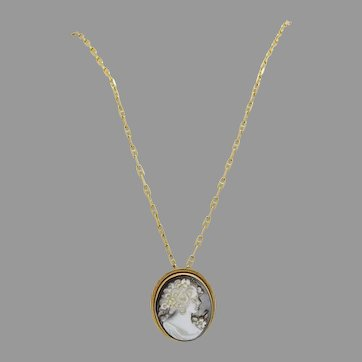 Beautiful Carved Natural Shell 14k Gold Cameo Pendant and Necklace