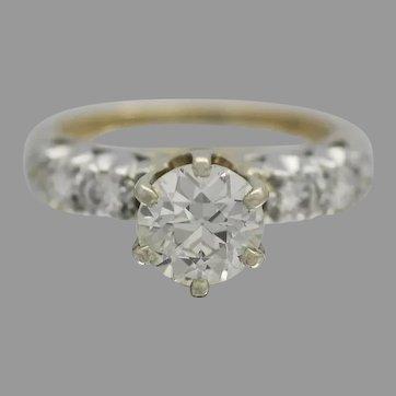 Beautiful Old European Cut Diamond Ladies Ring Center Diamond size 1.2 Ct, VS, J  set in 14k Gold and Platinum