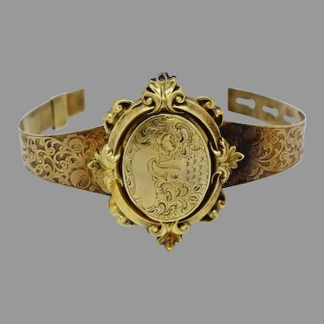 """Beautiful 10k Yellow Gold Victorian Mourning Bracelet-Size 7.0"""" Inch-22.0 Grams"""