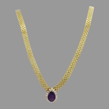 Beautiful 14k Yellow Gold Amethyst & Diamond Ladies Necklace