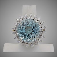 Beautiful 26.0 Carat Aquamarine and Diamond Ring