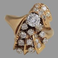 Vintage Diamond Cluster Ring 14k Gold