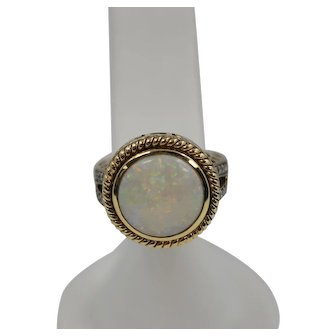 Beautiful 14k Round White Natural Opal