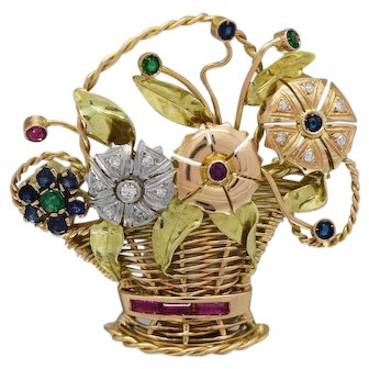 Beautiful Tricolor 18k Gold Brooch with Diamonds,Rubies,Sapphires,and Emeralds
