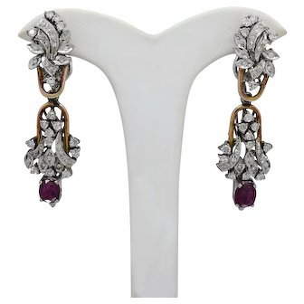 Beautiful Vintage Set of 18k White and Yellow Gold Diamond and Rubies Dangling Earrings