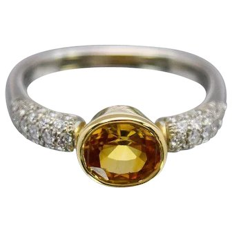 JFA Designs 18k White and Yellow Gold Ring with Diamonds and Yellow Beryl Gemstone