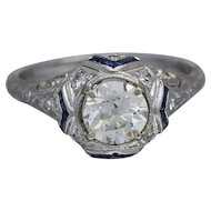 Art Deco 14k White Gold Ladies Diamond Ring 1.23 Tcw VVS, J Color
